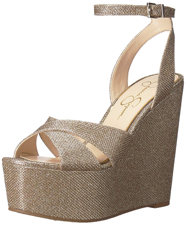 166766fa7940 Jessica Simpson Women s Prena Wedge Sandal. Sexy metallic platform wedge  Jessica Simpson is famous for