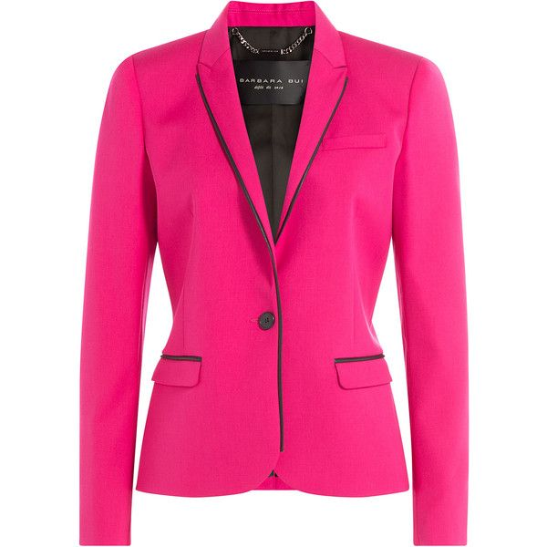 Barbara Bui Wool Blazer (¥53,385) ❤ liked on Polyvore featuring outerwear, jackets, blazers, pink, fitted blazer, pink blazer jacket, blazer jacket, fuschia pink jacket and fitted jacket