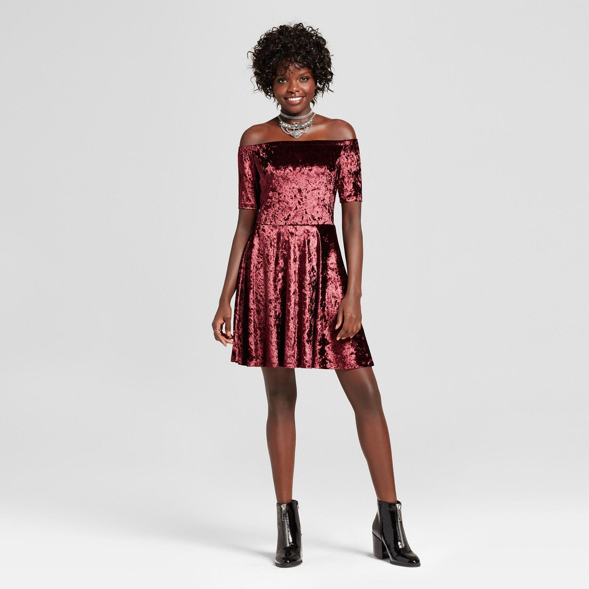 109289b57cc8 Women's Crushed Velvet Off the Shoulder Dress - Xhilaration (Juniors')  Berry S, Red