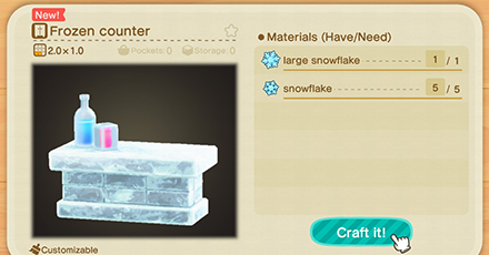 List Of Ice Frozen Series Furniture Item Recipes Acnh Animal Crossing New Horizons Switch Game8 Animal Crossing Frozen Diy Winter Diy