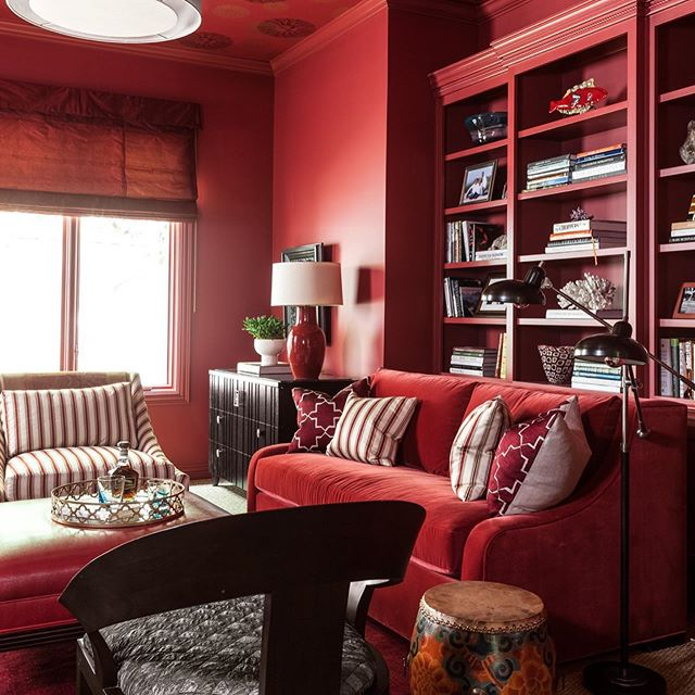 Monochromatic Red Painted Living Room Study In 2020 Living Room Paint Red Paint Colors Red Interior Design #paint #living #room #red
