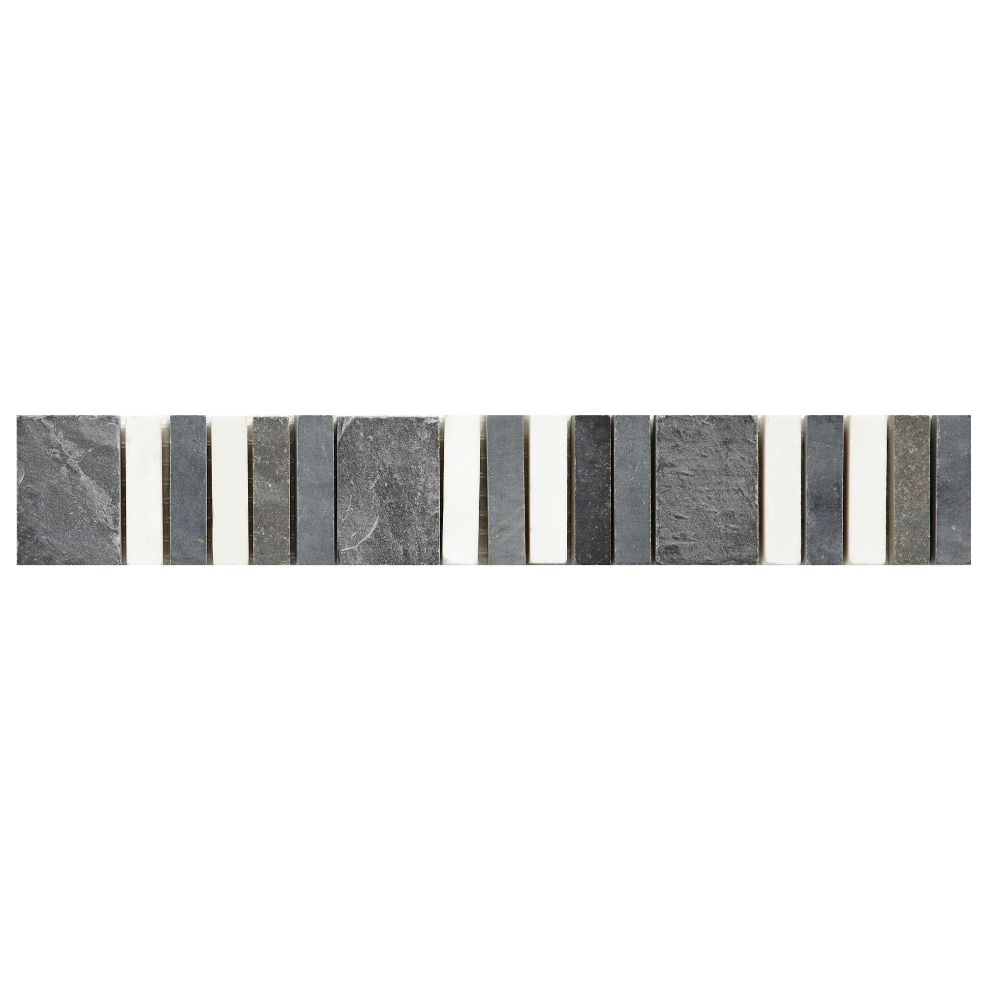 Natural Travertine Mosaic Tile L 300mm W 300mm: Linear Grey Glass & Stone Mosaic Tile, (L)300mm (W)300mm