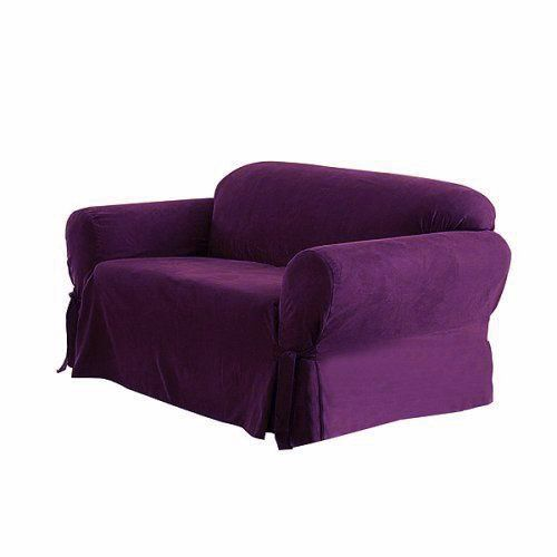 Soft Micro Suede Solid Purple Loveseat Cover Slipcover On Amazon