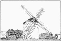 Coloriage Objet Moulin A Vent Moulin Tiquet à Imprimer Pour