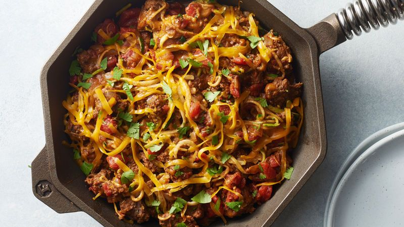 Taco Zucchini Noodle And Beef Skillet Recipe Dinner