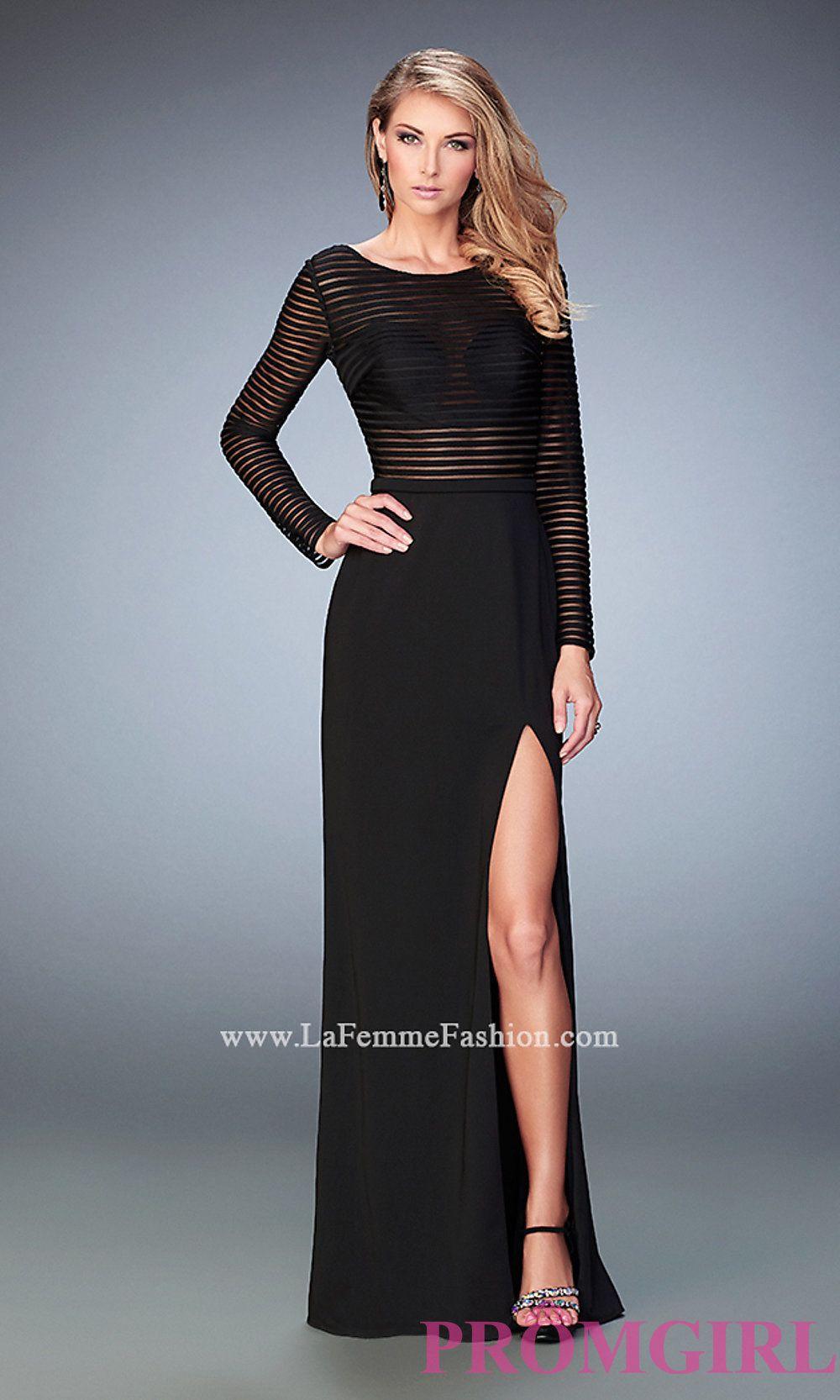 Long la femme black long sleeve prom dress style lf dresses