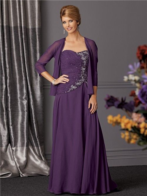 Purple Mother Of The Bride Dresses Line Long Chiffon Beaded Dress With Jacket