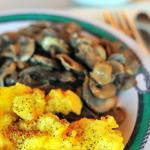 4.2_ carbs. Eggs mushrooms and zucchini.......  Dice zucchini. In a small non-stick skillet, saute the zucchini and mushrooms in the olive oil until softened,