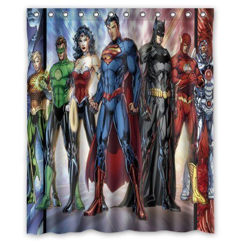 Beautiful Custom Dc Comics Justice League Superheroes Comics Shower Curtains Bathroom  Waterproof Fabric 60x72 U003eu003eu003e