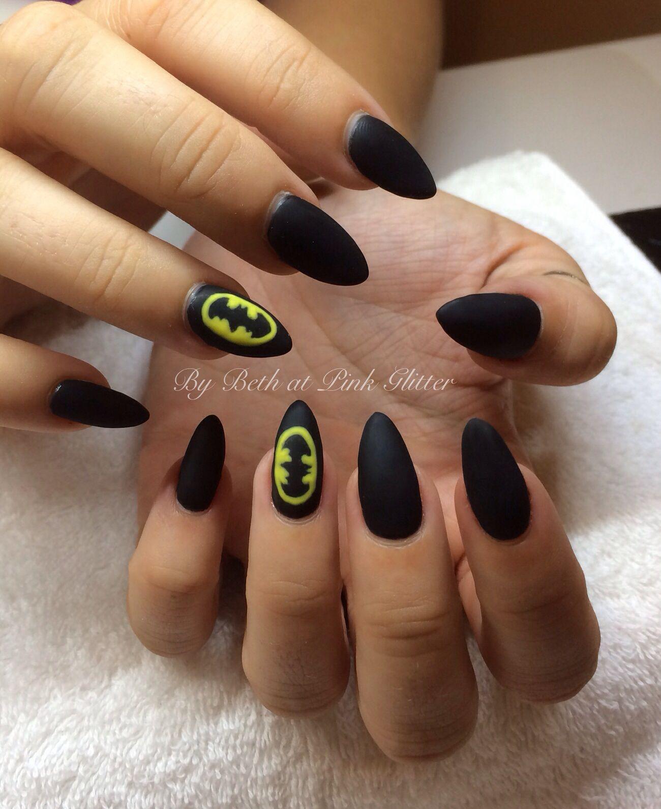 Batman Matte Nail Art - Nails   Pinterest