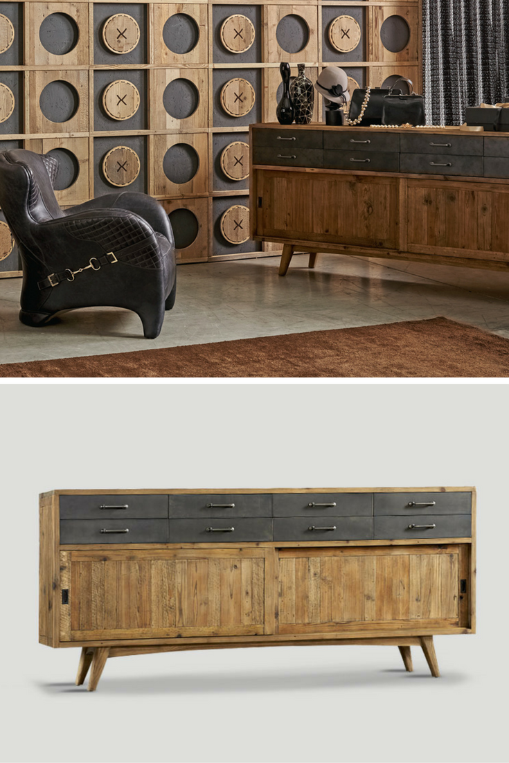 A Sliding Two Door Sideboard With Eight Drawers Made Light Coloured Recycled Wood And Dark Metal Details
