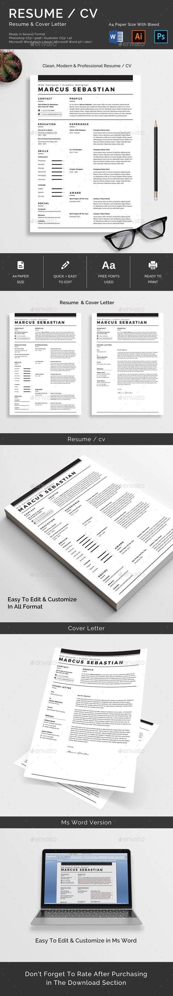 features one page resumecv cover letter a4 paper size with bleed ready in several format ai psd docx doc well organized labeled layers fully