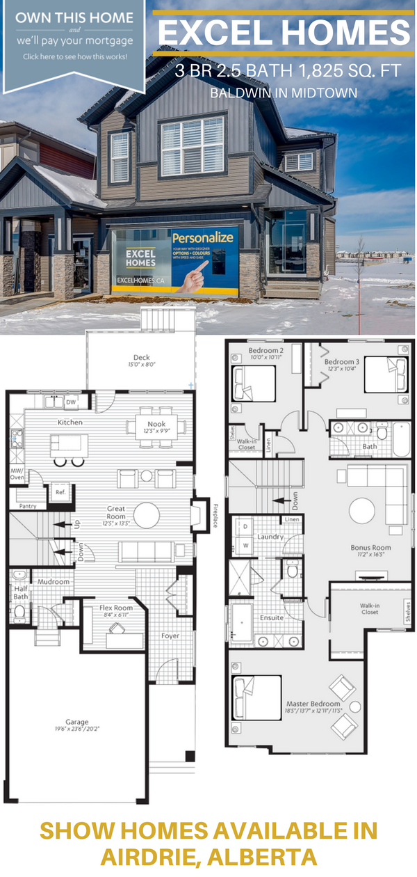 2 Story Floorplan Show Homes Available In Airdrie Ab Baldwin From Excel Homes Excelhomes Homedesi House Blueprints Modern House Plans Narrow House Plans