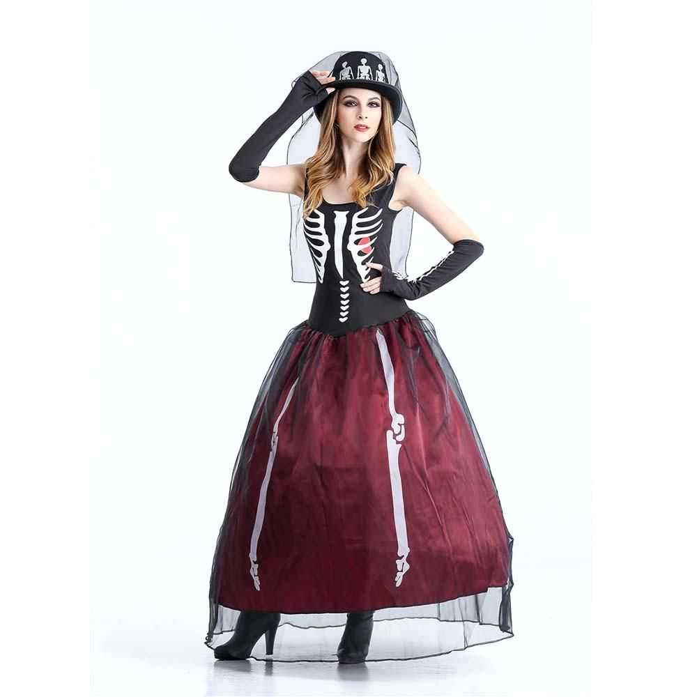 Skeleton Zombie Bride Costume Adult Dead Widow Ghost Costume ...
