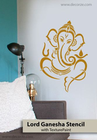 Sri ganesh stencil for pooja room interior design - Wall painting stencils for living room ...