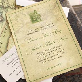 Elegant Lighthouse Wedding Invitation Sodus Point Handmade