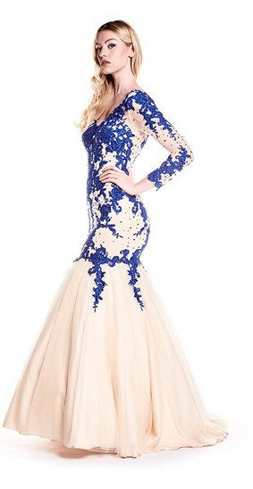 Full length fishtail dress with long sheer sleeves, from Ruby Prom ...