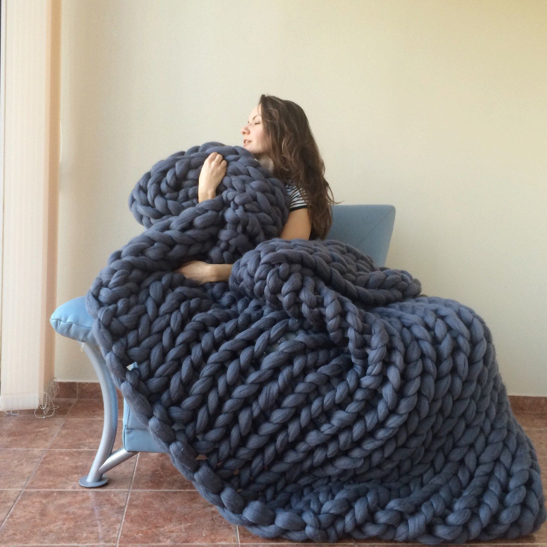Large Super Chunky Blanket Merino Wool Wool Blanket Hand Knitted Blanket Grande Punto Large Knit Blanket Chunky Knit Throw Blanket Arm Knitting Blanket