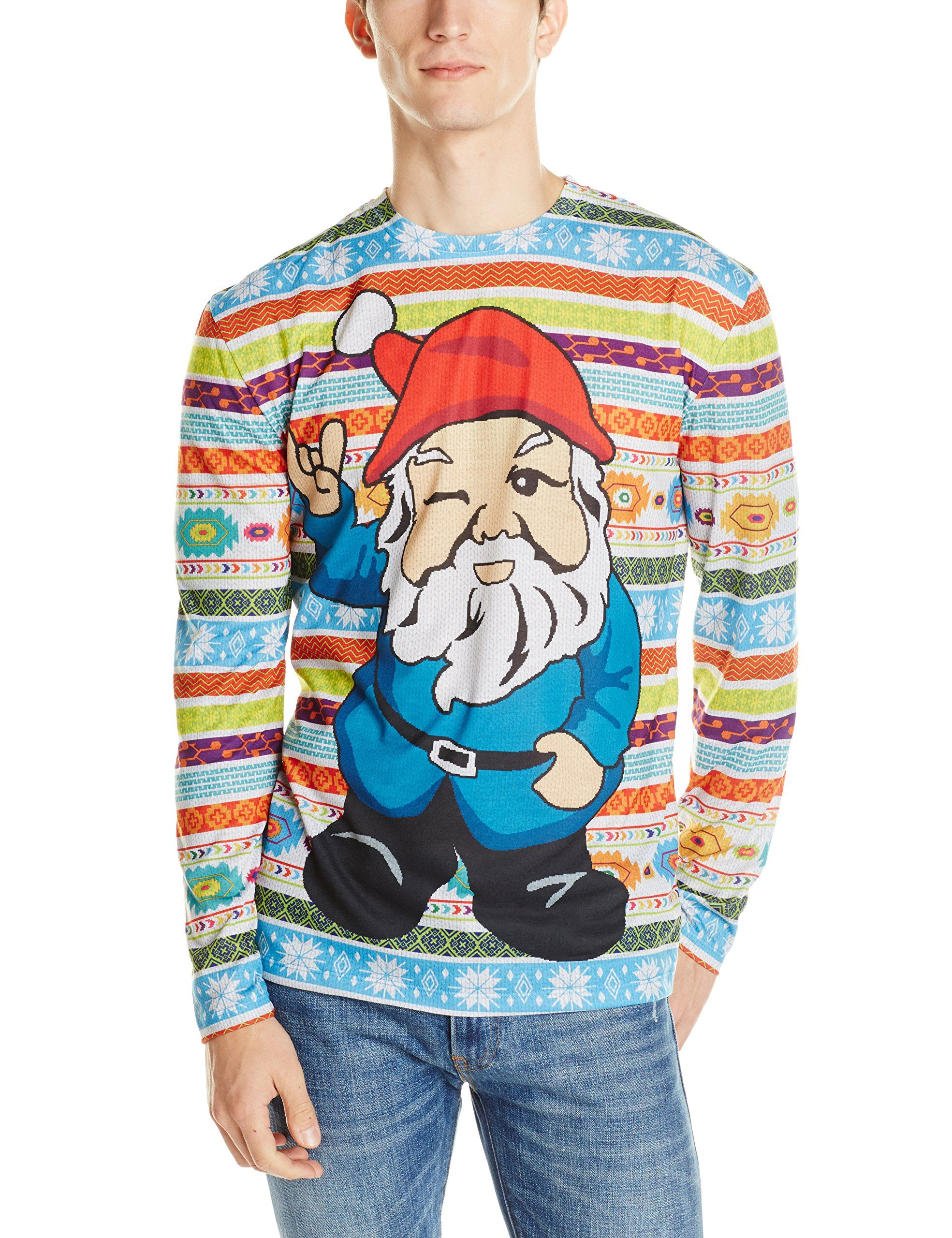 783598498 Faux Real Men s Christmas Gnome Ugly Sweater Printed T-Shirt at Amazon Men s  Clothing store