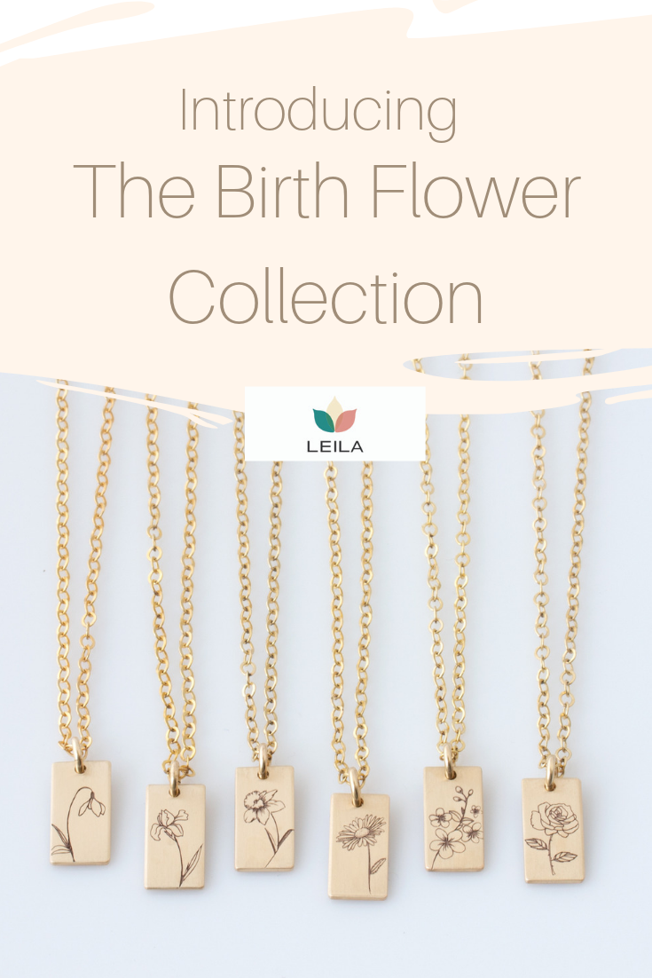 Personalized Birth Flower Necklace Mom Necklace Birth