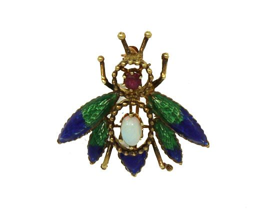 14K GOLD, GEMS & ENAMEL 3D FLY PIN