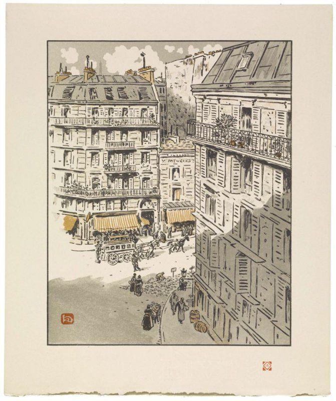 De la rue Rochechouart (From the Rue Rochechouart), pl. 15 from the book Les Trente-Six Vues de la Tour Eiffel (Paris: Eugène Verneau, 1902)  shadow!