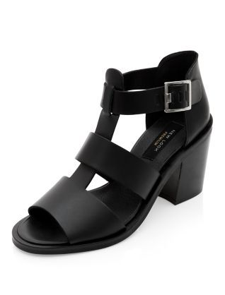 Black Block Heels New Look Cut Footwear Out I Leather Premium rqwvI4r