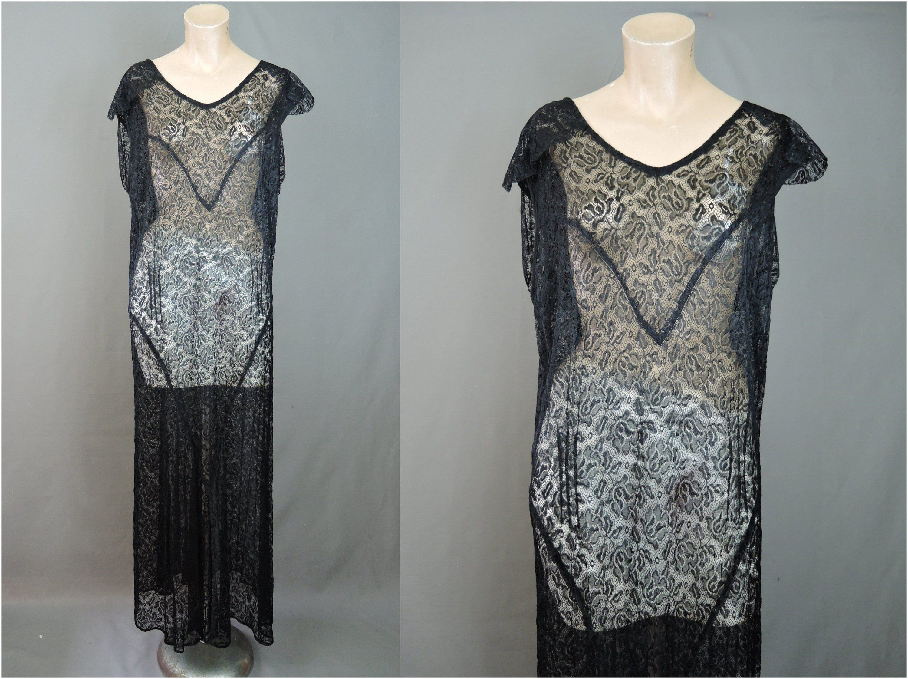 Vintage 1920s Black Lace Dress Gown All Sheer Fits 36 37 Etsy Lace Dress Black Lace Dress Dresses [ 2243 x 3000 Pixel ]