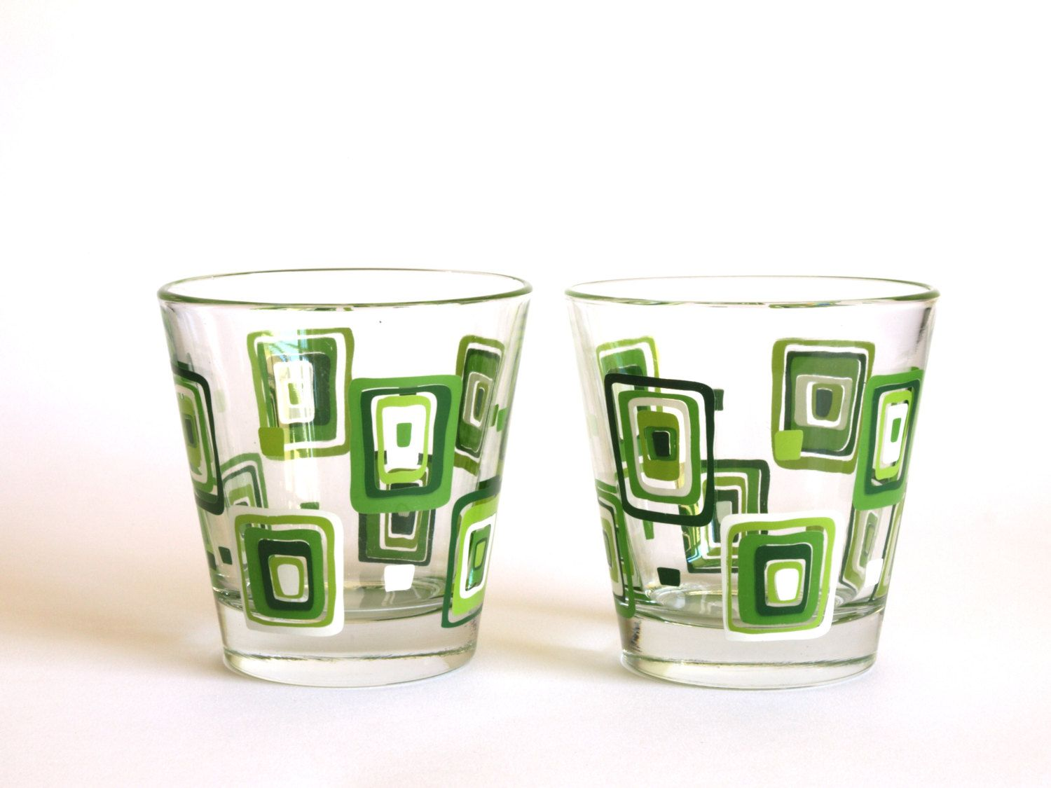ed7b822625b Vintage Mod Mid Century Green   White Rectangle Pattern Low Ball Glasses - Italian  Glasses Set of Two - Made by Cerve (25.00 AUD) by FunkyKoala