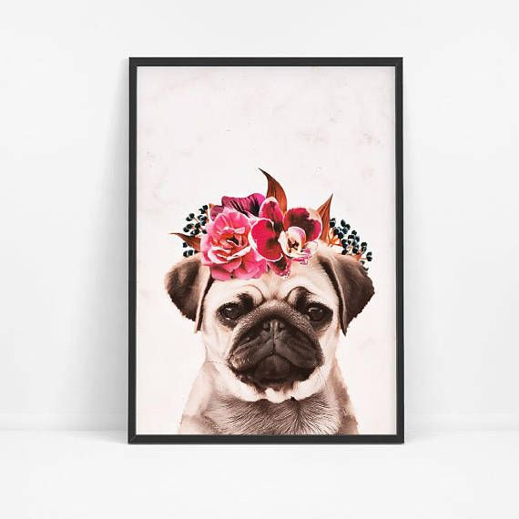 Pug Print Pug Wall Art Pug Big Poster Dog Wall Print Pug With