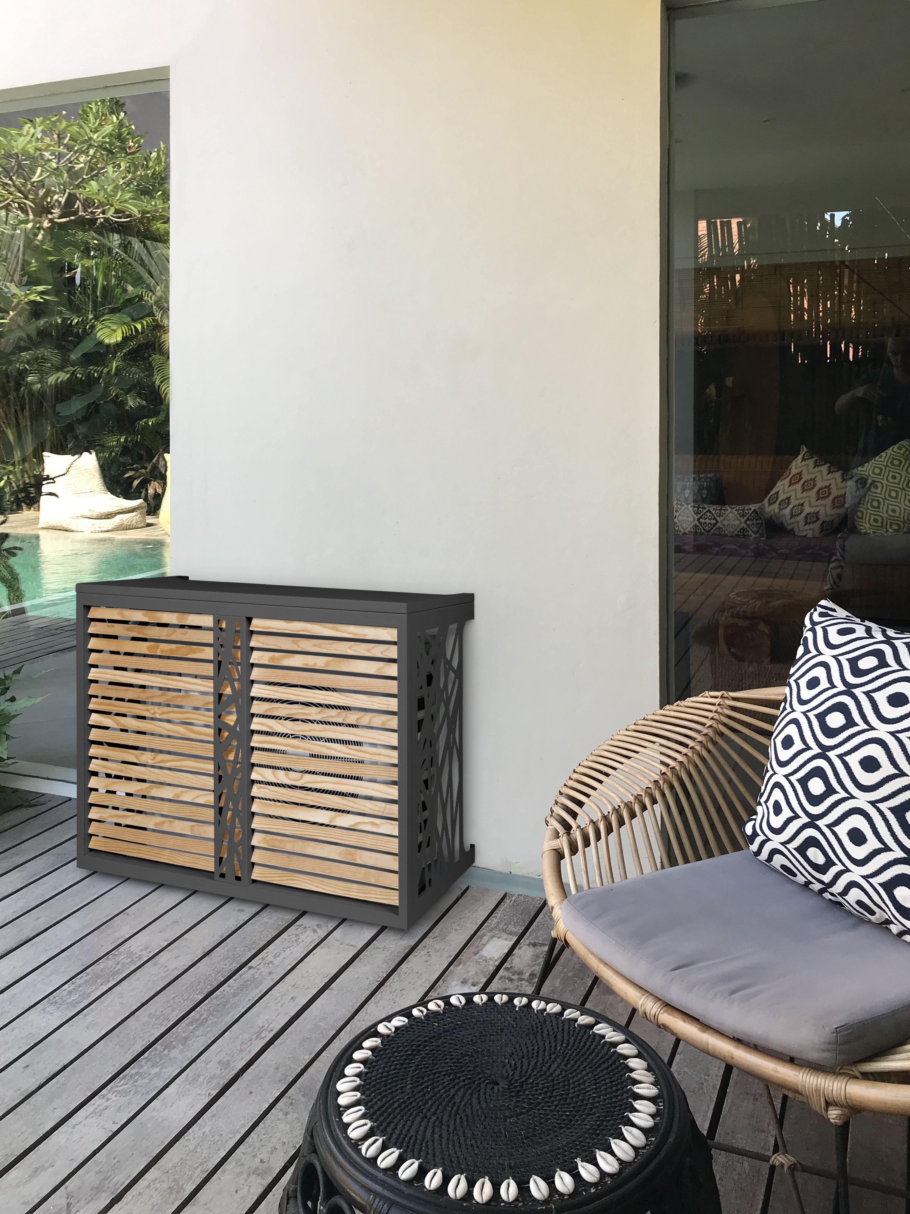 Cache Clim Pas Cher habillage climatisation mural en bois et aluminium