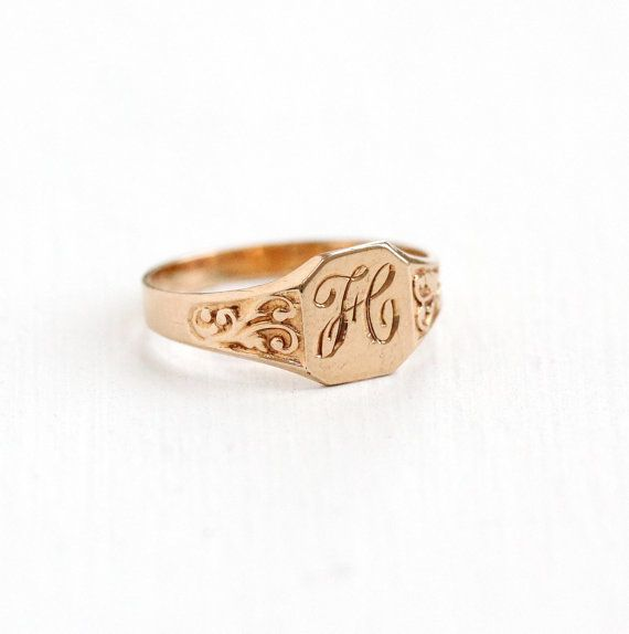 Antique Edwardian Monogrammed H 10k Rose Gold Ring Art Nouveau Vintage Size 2 1 4 Signet Rings Women Antique Rings Vintage Antique Engagement Rings Victorian