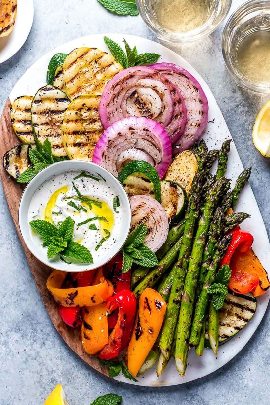 Grilled Vegetable Platter with Yogurt Mint Sauce