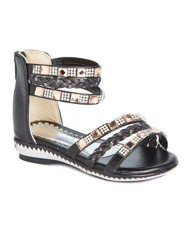 Black & Gold Stud Braided-Strap Sandal #zulily #zulilyfinds