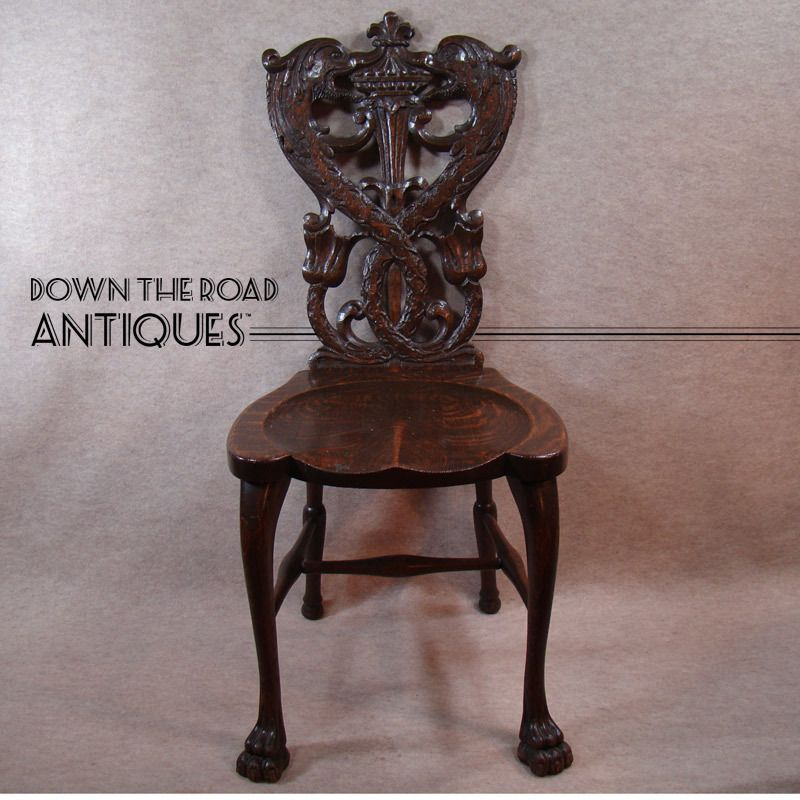 Hand-Carved Quarter-sawn Oak Chair with Serpents and Claw Feet - 1880's - Hand-Carved Quarter-sawn Oak Chair With Serpents And Claw Feet