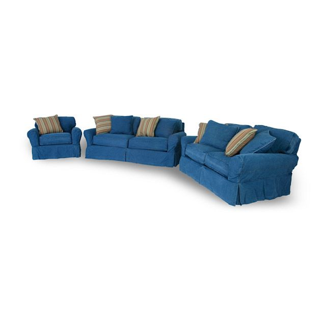 Denim Sofa And Loveseat Junk Gypsy Blue Jean Chesterfield