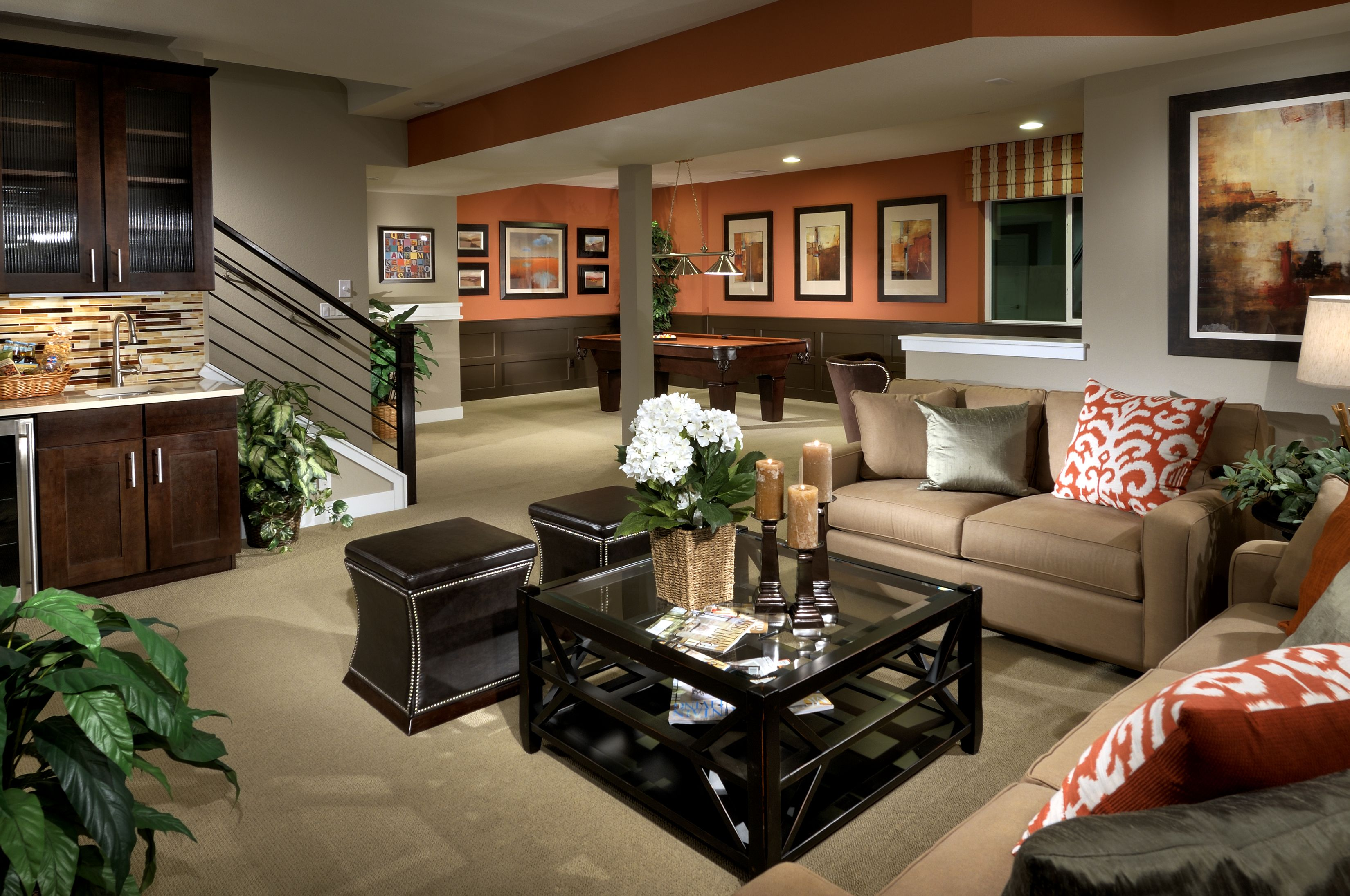 Basement Living Room Designs Delectable Furnished Basement Great Room From Parkside At Ridgegate Decorating Design
