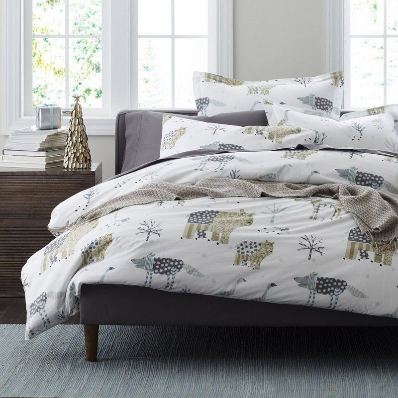 winter forest percale duvet cover sham covered in a charming cast of characters