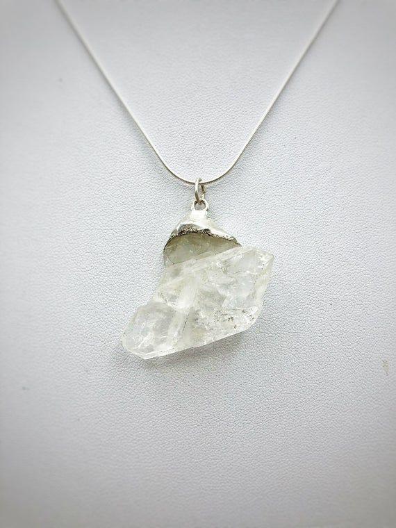 April Birthstone Necklace - Herkimer Diamond Necklace - Quartz Necklace - Silver Quartz Necklace - R