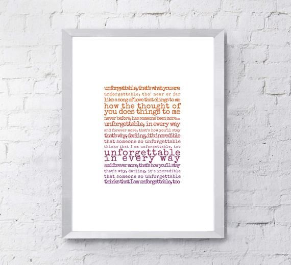 Unforgettable Print, song lyrics print, Gift for husband, Gift for wife, song lyrics first dance ann #excelwordaccessetc