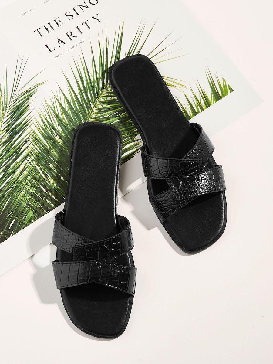 Crocodile Pattern Flat Slippers | SHEIN