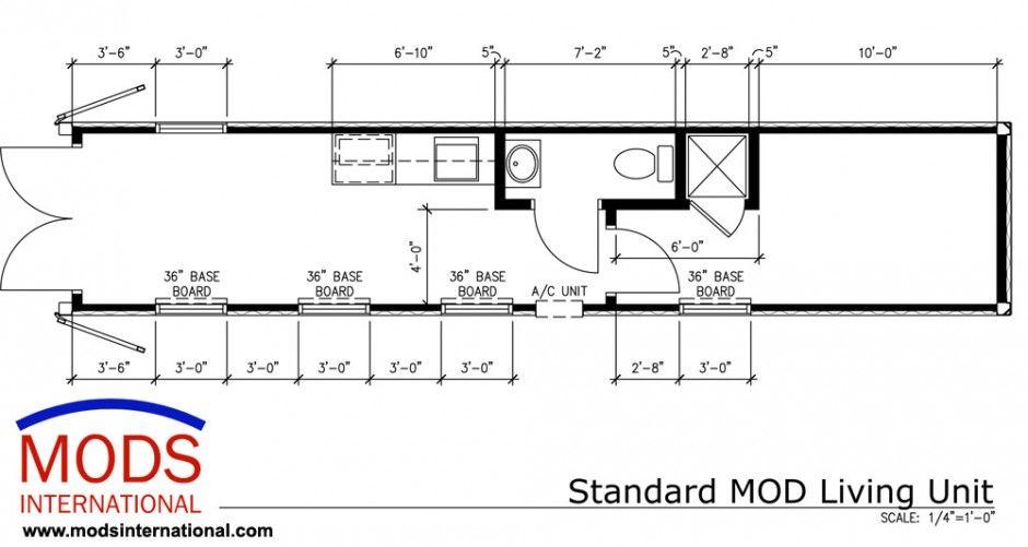 40' Standard MODS Living Unit Floor Plan | MODS International