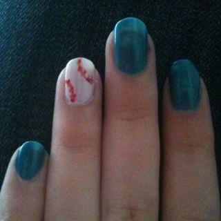 Red Sox nails (my actual nails!)