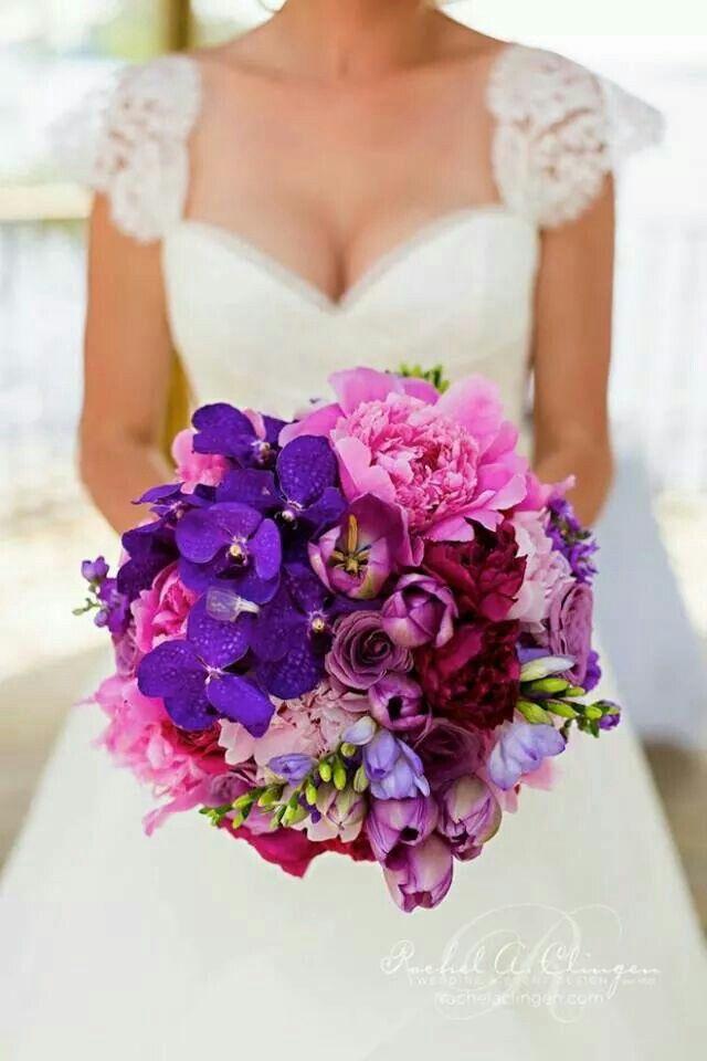 Ramo de Novia con combinacion en todos rosados & violetas