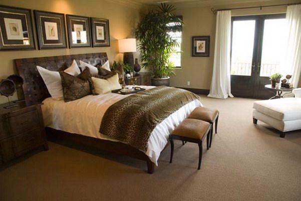 beautiful olive green master bedroom
