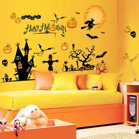Halloween wall decals Halloween window decals ghost elves devil ...