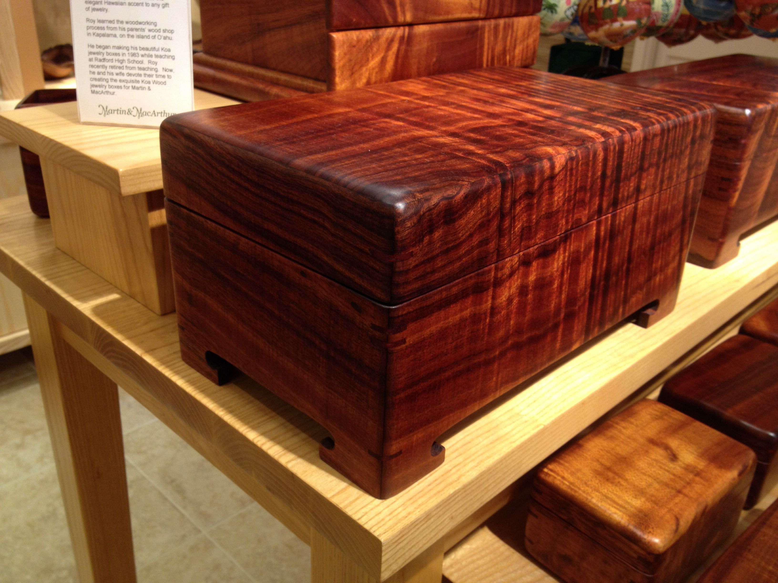 Gorgeous dark curly Koa box by Hawaii craftsman Roy Only at www
