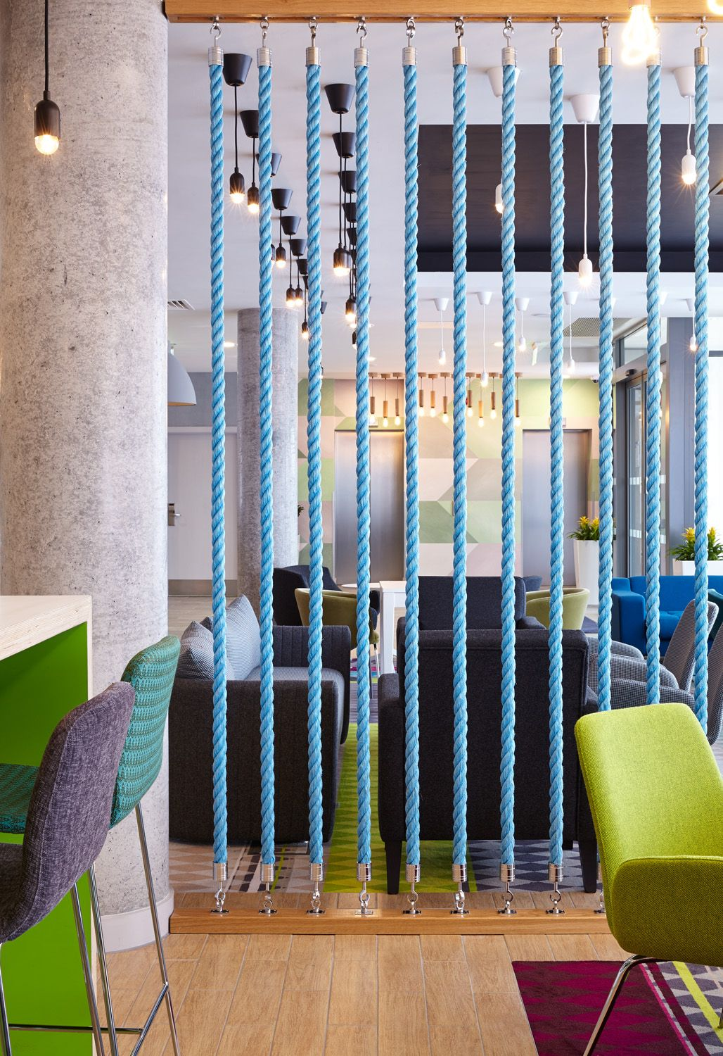 Holiday Inn Express Aberdeen | Fishing Boat Rope Screen Divider | Polished Concrete Column | Feature Lighting