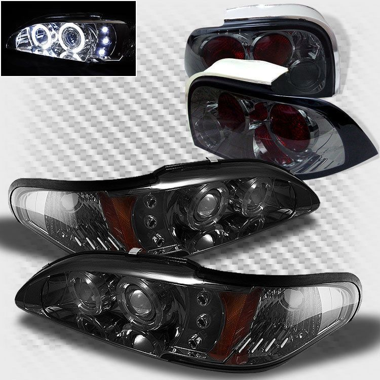 For Smoke 94 95 Ford Mustang Halo Led Pro Headlights Tail Lamp Head Lights Mustang Ford Mustang Ford