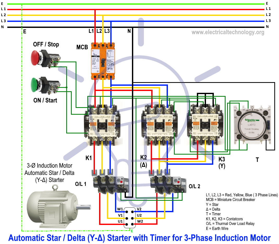 medium resolution of star delta starter y for 3 phase induction motor electrical wiring